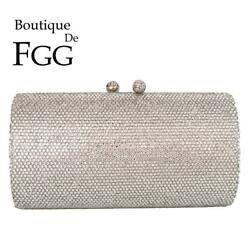 Women Silver Evening Clutch Bags Bridal Crystal Purses Wedding Party Handbags $35.99