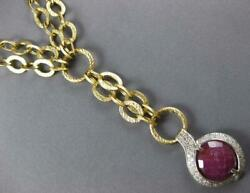 Large 17.80ct Diamond And Aaa Ruby 14kt 2 Tone Gold 3d Lariat Toggle Fun Necklace