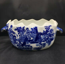Victoria Ware Blue And White Ironstone Planter/bowl W Handles - Flow Blue Scallop