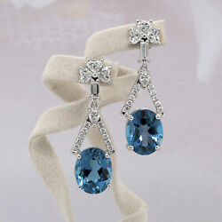 14k White Gold Dangle Earrings 7.91 Carats Blue Topaz And Heart And Round Diamonds