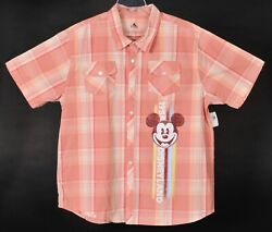 Disneyland 1955 Mickey Mouse Short Sleeve Button Front Shirt Mens Xl New W Tag
