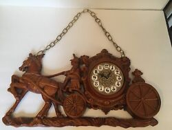 Vintage Horse Drawn Carriage Wall Clock With Chain Mid-century Homco