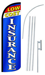 Low Insurance Banner Flag Sign Display Kit Flutter Feather Windless Swooper 3and039