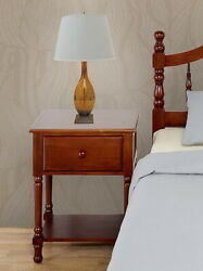 Cherry Finish Wooden Nightstand Bedside Table Drawer End Side Bedroom Furniture