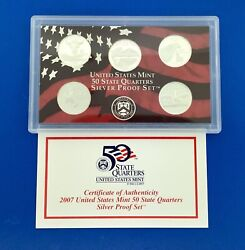 2007 S United States Mint 50 State Quarters 5 Coin Silver Proof Set Omp/coa