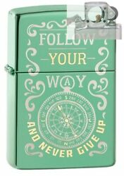 Zippo 49161 Follow Your Way Compass Design Lighter With Pipe Insert Pl