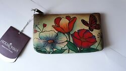 New Anuschka Hand Painted Leather Pouch with Beautiful Floral & Butterfly Design $52.00
