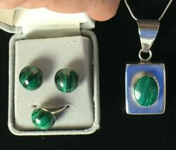 Vintage 925 Sterling Silver And Malachite Ring Earrings And Pendant Necklace Set