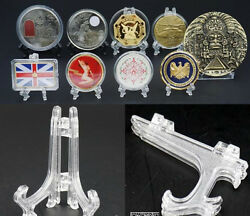 250 Capsules/challenge Badge/medal Coin Minerals Display Easel Stand Holder