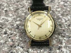 Classic 1952 Longines 14kt Yellow Gold Wristwatch For Men. Crab Lug Case.