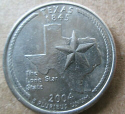 2004-p Texas Quarter, Die Chips At Top Right Star Point And Top Of Panhandle, Xf
