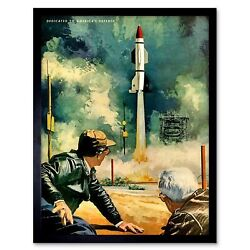War Painting Missile Launch Rocket Nuclear Bomb Usa 12x16 Inch Framed Art Print