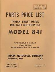 1942 Indian Motorcycle- Shaft Drive Military Parts List - Antique Reproduction