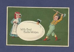 Antique Postcard With Best Easter Wishes Boy Cracking Egg With Sledge Hammer