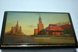 Vintage Russian Ussr Wooden Lacquer Box Signed Fedoskino Kremlin Moscow Signed