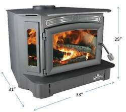 Breckwell Bay Front Wood Stove Fireplace Insert 128k Btu Heat 3200sf Refurbished