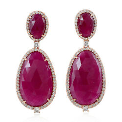 Solid 18k Rose Gold Pave Diamond Ruby Dangle Earrings Womenand039s Jewelry For Gift