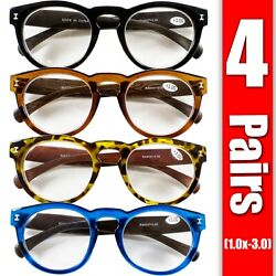 4 Pairs Mens Womens Oval Round Fashion Retro Power Reading Reader Glasses 1 3 $11.99