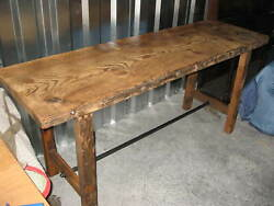 Industrial Antique Console Table Kitchen Island W 2.5 Thick Top 75 X28 X 34t