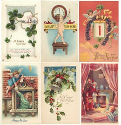 Antique Vintage New Yearand039s Postcards Early 1900s Collectible Holidays Lot Of 45