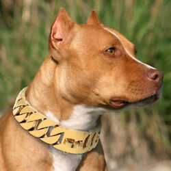 Gold Stainless Steel Chain Dog Collar Large Wide Heavy Duty K9 POLICE Doberman