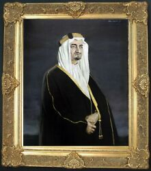 King Faisal Original Portrait he sat for 1967 Saudi Arabia National Art Treasure