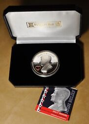 John F Kennedy 5oz Silver Coin With Heart Shaped Crystal Pobjoy Mint