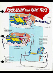 1950's Gong Bell Rock Glide And Ride Toys Shooflyer And Ri-de-o Dealer Sheet Page