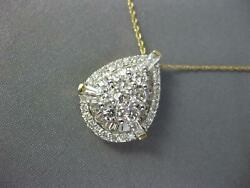 Estate 1.0ct Diamond 14kt Yellow Gold Round And Baguette Cluster Tear Drop Pendant