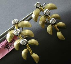 Large .06ct Diamond 14kt Yellow Gold Multi Leaf Branch Clip On Hanging Earrings