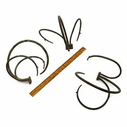 Antique Curved Iron Claw Hooks Lot Of 3 Unusual Brackets Altered Art Steampunk +