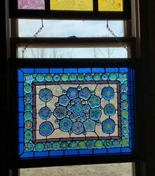 Stained Glass Window Made With Multiple Multicolored Paperweights Wood Frame