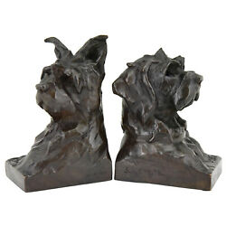 Art Deco French bronze sculpture terrier dog bookends by Fiot Susse Freres 1920