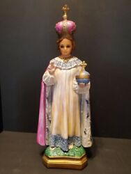 Antique Statue of The Infant of Prague w Glass Eyes 18 inches tall