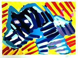 Karel Appel 1980 Bull Dog , Limited Edition Lithograph Hand Signed And Numbered