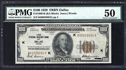 Key Note 1929 100 Frbn  ♚♚dallas♚♚  Pmg About Unc 50  Hard To Find