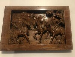 Antique Japanese Hand Carved Three War Warriors On Horses. 14andrdquo X 9.5 Andldquo