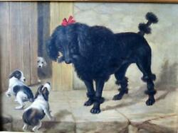 Antique English Dog Painting Poodle and Terrier Puppies