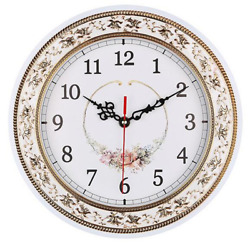 Classic Vintage Look Wall Clock Flower Design Silent Non Ticking Quartz Movement