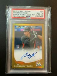 2013 Topps Chrome Christian Yelich Gold Refractor Auto Autograph Rc /50 Psa 9
