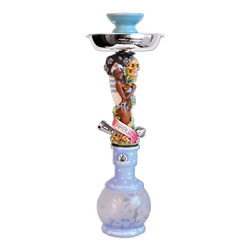 100 Authentic Starbuzz Sexy Lady Hookah Table Top Hookah Complete Set- Blue