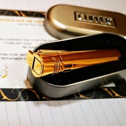 24ct Gold Plated Metal Electric Jet Clipper Lighter Gas Gift Boxed New Lid 24k