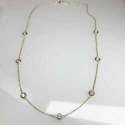 1.25ct Diamonds By The Yard 5 Stations Necklace G/ Vs2 Yellow 14k Comfort Bezels