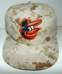 Game Used New Era 59fifty Hat Mlb Baltimore Orioles Mens Camo Fitted Cap 8 1/8