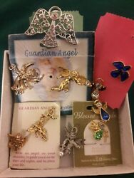 Lot 11 Religious Blessed Guardian Angels Pins Lapel Pins Assortrd Crystals Gems