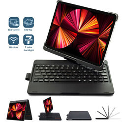 New Ipad 10.2/11 Wireless Keyboard Case 360 Degree Rotation And Screen Protector