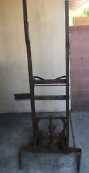 Rare Antique Wood/metal Hand Truck Ice Dolly Pedal-activated Fork Mechanism
