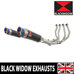 Gsx1300r Hayabusa 99-07 4-2 Exhaust System Round Blue Tip Carbon Silencers Cl23r