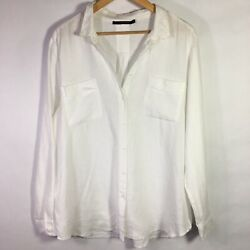 Monoprix Femme Linen Blouse Button Front White Long Sleeve Shirt Size EU 44 US14