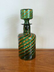 Barovier And Toso Mid-century Murano Glass Green Art Decanter Bottle Stopper Italy